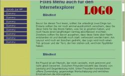 Screenshot - Fixes Menü auch für den IE